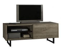 Mobile TV con anta scorrevole e cassetto color rovere americano chiaro e laccato nero lucido