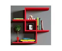 CHAIN Mensola da muro - Mensola Parete - Mensola Libreria - Scaffale pensile per studio / soggiorno in Design moderno (Rosso)
