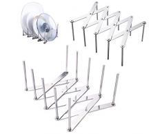 2 Pezzi Supporto Per Coperchio In Acciaio Inox Porta Coperchi Estensibili Supporto Regolabile Per Coperchio Pentola Multifunzione Stendino Per Armadio Dispensa