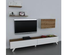 Alphamoebel - Parete attrezzata soggiorno Caterina, colore: Bianco/ Merrone 1742