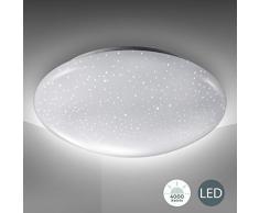 Lampada da soffitto LED, decoro a cielo stellato, plafoniera luce bianca 4.000K 1.200lm, Ø29cm, LED integrati 12W, lampadario per camera da letto o soggiorno a risparmio energetico, plastica, IP20