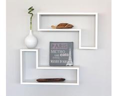 2 MENSOLE DESIGN LEGNO Mensola a Parete Muro BIANCO Con Venature Mod. ELLE BI