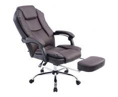 CLP Poltrona presidenziale e relax CASTLE, con poggiapiedi estraibile, imbottita, regolabile in altezza, reclinabile, ergonomica, sedia da ufficio, sedia gaming, capacità di carico 130 kg marrone