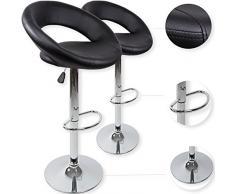 Kesser - Set di 2 sgabelli alti, per cucina o sala da pranzo, regolabili in altezza, girevoli a 360°, con schienale, seduta imbottita e poggiapiedi, 8 colori disponibili, nero