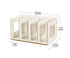 Teckpeak CD Book rack scaffale di legno creativo fai da te desktop Storage Sorting Bookends Office trasportano ripiani – rovere, Legno, White, 30.5×15×17cm