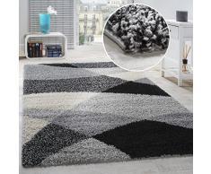 Tappeto Shaggy A Pelo Alto A Pelo Lungo Decorato nei Colori: Grigio Nero Bianco, Dimensione:140x200 cm