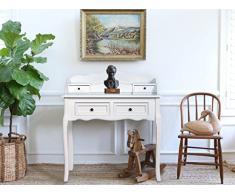 Rebecca Mobili Tavolo consolle bianco, scrittoio classico, 4 cassetti, legno paulownia mdf, per bagno ingresso - Misure: 100 x 88 x 40 cm (HxLxP) - Art. RE4140