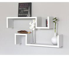 SET 7 MENSOLE Design BIANCHE Mensola a Parete Camera Legno Bianco Con Venature ESSE 3C ELLE
