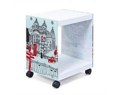 Esidra Galesburg Tavolino/Comodino con Ruote, Legno, Bianco, 38 x 33.5 x 46 cm