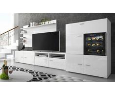 Home innovazione - Mobile soggiorno - Parete da soggiorno con Cantinetta La Sommeliere per vino, bianco mate e bianco laccato, dimensioni 295 x 57/40 x 175 cm di altezza.