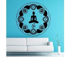 Adesivo Murale Rotondo Simbolo Mandala Indiano Soggiorno Meditazione Mobile Yoga Postura Loto Applique 30 X 30 Cm