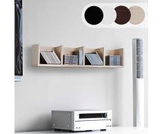 Scaffale Porta CD DVD - Archivazione 80 CD, 4 Ripiani, 17x92x16,5 cm, in Legno, Colore Acero - Libreria, Mensola CD da Parete, Mobile DVD