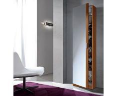 Links - Zola 8 scarpiera 1 porta + specchio. Dim. 50x20x180h cm. Melamina. Castagno.