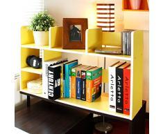 Scrivania Regolabile Scaffale libreria da parete, Moderna Per bambini Mensole legno Organizer storage Cremagliera di esposizione della mensola Per record & libri -giallo 80x20x46cm(31x8x18inch)
