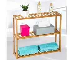 TecTake Scaffale in legno espositore bamboo bagno dispensa 3 ripiani 60x15x54,5cm
