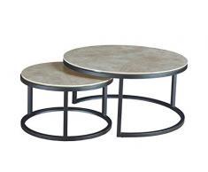 Meubletmoi - Tavolino basso rotondo estraibile in ceramica e base in metallo, design moderno industriale, OXY