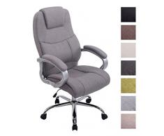CLP Poltrona ufficio in tessuto, APOLL XXL, sedia da scrivania ergonomica, girevole, con meccanismo oscillante, portata massima 210 kg, con braccioli, ruote antiattrito grigio