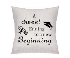 ZCHXD Regali di Laurea Federa Cuscini per Divani Decorativo Biancheria Cuscino Copricuscini Divano Caso A Sweet Ending to A New Beginning