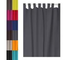 Tenda con passanti linea Rideau - 140 x 260 cm - anti-sguardi indiscreti - grigio