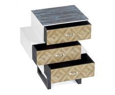 ts-ideen Design Cassettiera Antico Look Armadio Scaffale Legno con 3 cassetti e Porta