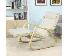 SoBuy Poltrona dondolo, poltrona oscillante, poltrona riposo, sedia relax, poltrona dondolo, FST16-W