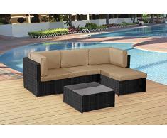 5PCS patio lounge divano angolare in rattan mobili da giardino