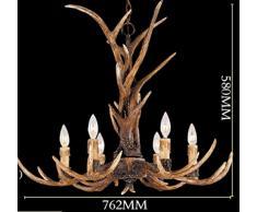 EFFORTINC ® Vintage Chandelier Deer Horn resina 6 luci, lampadari rurali campagna corna, Sala studio / ufficio, sala da pranzo, camera da letto, Soggiorno Lampadario