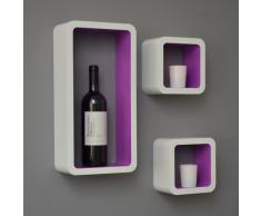 Set di 3 Cubo Design Lounge scaffale libreria retrò CD DVD Mensola Bianco Viola