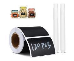 Jooheli - Etichette per lavagna, 120 pezzi, impermeabili, riutilizzabili, per cucina, organizza con 2 gessetti bianchi cancellabili per decorare barattoli, dispensa, casa, ufficio