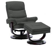 vidaXL - Poltrona reclinabile in legno con poggiapiedi, poltrona relax per TV, poltrona da pensione, poltrona imbottita, poltrona lounge, sedia da salotto, colore: Antracite