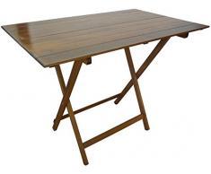SF SAVINO FILIPPO Tavolo tavolino Pieghevole richiudibile Legno Noce Marrone 100x60 cm in faggio con Listelli per Campeggio casa Giardino PIC nic