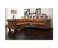 cornice in legno mobili di qualsiasi Sala de estar 145,5/x 76/x 70/cm tappezzeria in pelle artificiale SHENGFENG divano Chesterfield marrone