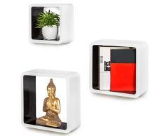 BAKAJI Set 3 Mensole da Parete Moderne Design Quadrato Smussato Mensola Scaffale Cubo 2 Ripiani in Legno MDF Varie Dimensioni (Bianco Nero)