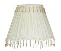 Oaks Lighting - Paralume in Tessuto Tipo Seta Pieghettato, Base con Merletto e Bordo Inferiore con Perle Pendenti, 12,7 cm, Colore: Avorio