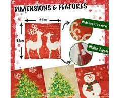 Confezione 4 cuscini festivi- Quattro modelli - Cuscini stagionali perfetti per divani e letti – Regalo ideale per addobbare casa in tema natalizio