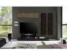 Cube 13 D Rovere Wenghé e Rovere Miele Parete Attrezzata Soggiorno Moderna Porta Tv