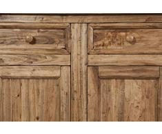 Biscottini Credenza Country in Legno massello di Tiglio Finitura Naturale 202x45x103 cm