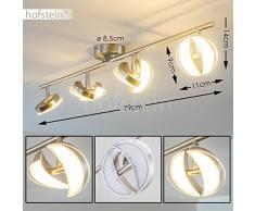 Lampada da Soffitto LED Quinte con 4 Faretti Mobili – Sistema Spot da Soffitto Direzionabili – Colore Nichel Opaco - 2000 Lumen – Lampadario Moderno per Cucina Soggiorno Camera da Letto