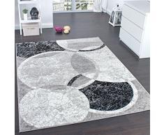 Paco Home Tappeto di Design per Salotto Motivo A Cerchio Grigio Crema Prezzo Eccezionale, Dimensione:80x150 cm