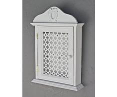 Cassetta portachiavi con griglia porta chiavi armadio bianco anticato inko Rosali legno