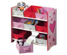 Kesper, Scaffale per bambini, con 9 cassetti in tessuto, Rosa (Rosa)