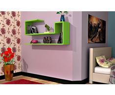 WAVE Mensola da muro - Mensola Parete - Mensola Libreria - Scaffale pensile per studio / soggiorno in Design moderno (Verde)