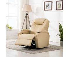 Tidyard Poltrona Massaggiante Elettrica a Dondolo in Similpelle,Poltrona Relax Massaggiante Riscaldante Reclinabile Crema