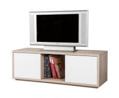 Mobile porta TV due ante scorrevoli rovere chiaro e frontali laccati bianchi