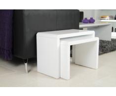 AC Design Furniture 36158 - Tavolino doppio Lucas, ca. 59 x 41 x 30 cm, lucido, colore: Bianco