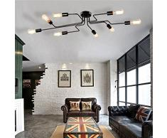 Frideko DIY Industrie Lampada a sospensione vintage, regolabile in altezza – lampada a sospensione lampadario per soggiorno sala da pranzo bar caffetteria, Deckenleuchte-mit 8 Flammige, E27 60.00 wattsW 220.00 voltsV