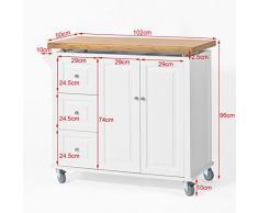 SoBuy Carrello di servizio, Scaffale da cucina, Mensola angolare, legno+ bambù (piano), FKW30-WN, IT