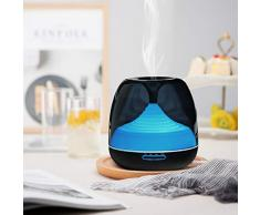 Dispersore di oli aromatici, macchina per aromaterapia Luckyfine, lampada per nebulizzatore LED a 7 colori da 500 ml, adatta per soggiorno, camera da letto, ufficio, yoga, spa, ecc.