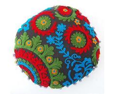 40,6 cm Handmade pouf decorativo ottomano indiano Suzani rotondo cuscino vintage cotone guanciale 2 pezzi Set