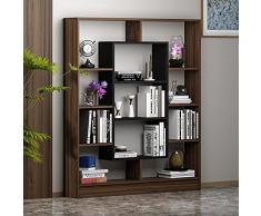HOMIDEA Venus Libreria - Scaffale per Libri - Scaffale per Ufficio/Soggiorno dal Design Moderno (Noce/Nero)